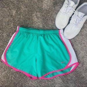 NIKE DRI-FIT Green White & Pink Athletic Shorts